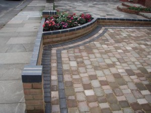 Patio, driveway and walling