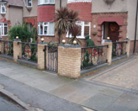 front garden lanscaping including block paving, edging, walling, gate and fencing